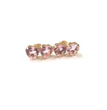 Brinco Folheado a Ouro Com Pedras de Zircônia Rosa Formato Coração