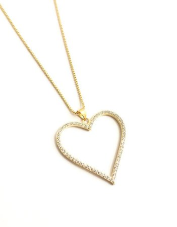 Gargantilha coração folheada a ouro 18k com zircônias