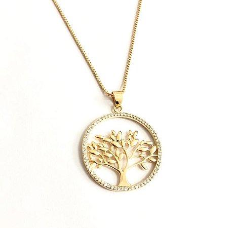 Gargantilha árvore da vida folheada a ouro 18k com zircônias
