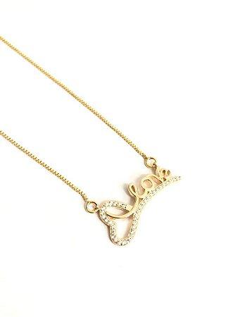 Gargantilha folheada a ouro com  pingente de zirconia love ( 40 cm )