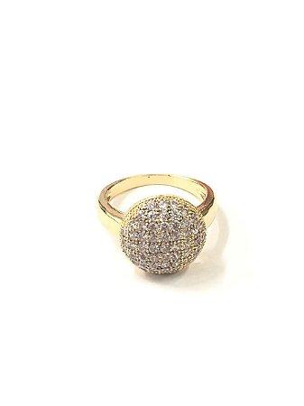 Anel folheado a ouro com pedra de zircônia