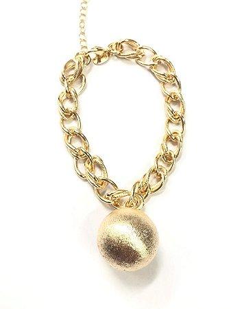 Pulseira folheada a ouro com bola fosca
