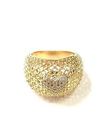 Anel Folheado a Ouro com Pedras de Zirconia