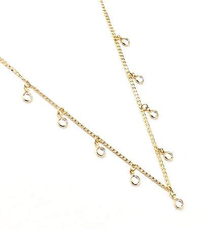 Gargantilha Choker Folheada a Ouro com Pedras de Zirconia