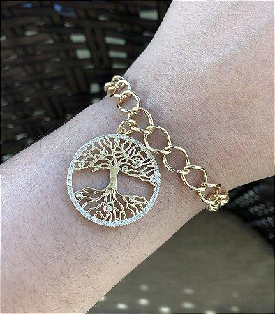 Pulseira folheada a ouro com pingente de árvore da vida