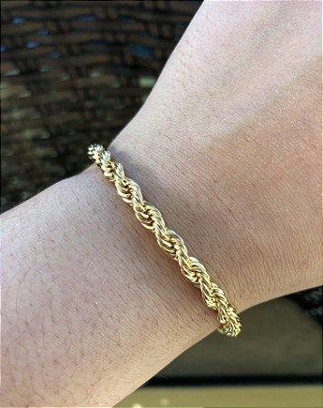 Pulseira cordão baiano folheado a ouro