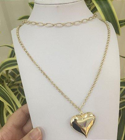 Gargantilha dupla folheada a ouro com pingente de coração