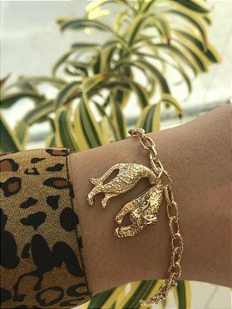 Pulseira folheada a ouro com pingente de tigre
