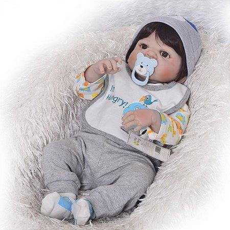 Bebe Reborn, Menino, 57 CM Toquinha Urso
