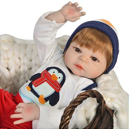 Bebe Reborn, Menino, 57 CM Toquinha Pinguim