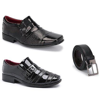 Kit 2 Pares Sapatos Sociais Infantil Masculino Em Verniz Com Um Cinto Schiareli