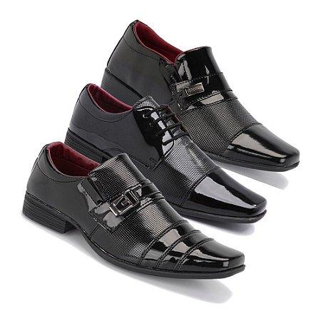 Kit 3 Pares Sapatos Sociais Masculino Em Verniz Schiareli K2