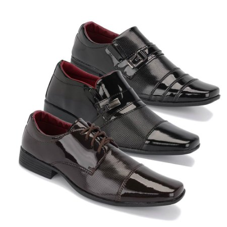 Kit 3 Pares Sapatos Sociais Masculino Em Verniz Schiareli K8