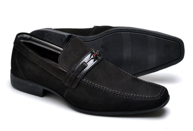 Sapato Social Masculino Em Couro Nobuck Reta Oposta 3041