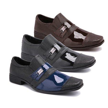 Kit 3 Pares Sapatos Sociais Masculino Em Verniz Schiareli K22