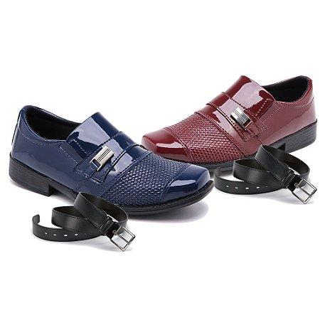 Kit 2 Pares Sapatos Sociais Infantil Masculino Em Verniz Com 2 Cintos Schiareli 444