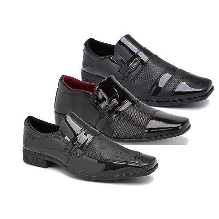 Kit 3 Pares Sapatos Sociais Masculino Em Verniz Schiareli K900