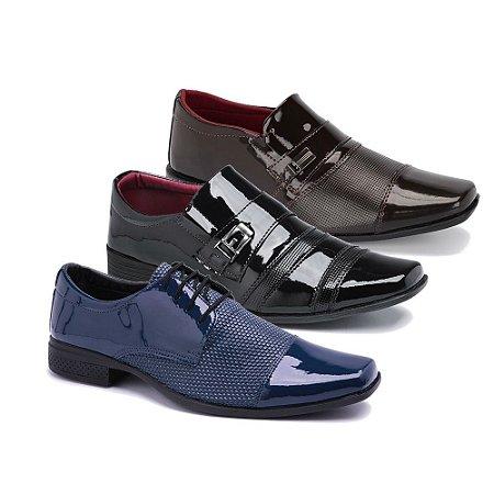 Kit 3 Pares Sapatos Sociais Masculino Em Verniz Schiareli K18