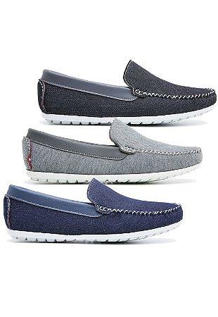 Kit 3 pares Dock Side Masculino Em Jeans 588 Schiareli K1