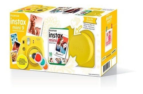 Kit Camera Instantânea Instax Mini 9 + Bolsa E Filme - Amarelo banana