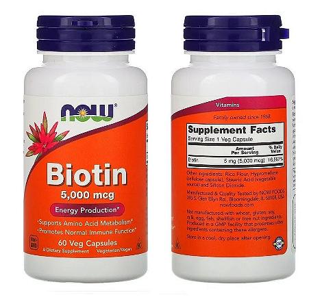 Biotina 5000 mcg - Now Foods - 60 Cápsulas (PRONTA ENTREGA)