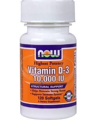 Vitamina D-3 10.000 IU - 120 Softgel - Now Foods (pronta entrega)