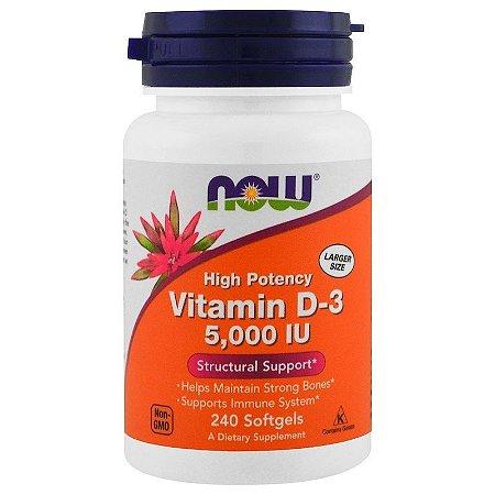 Vitamina D-3 5000 IU - Now Foods - 240 Softgels (pronta entrega)