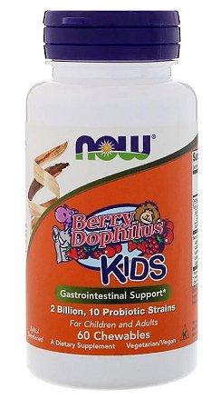 Probiótico Berry Dophilus KIDS (Crianças)  2 Bilhões - Now Foods - 60 pastilhas