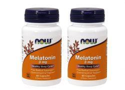 Kit Melatonina 3 mg - Now Foods - Total 120 cápsulas (hormônio do sono)