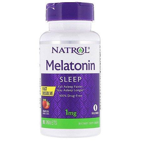 Comprar Melatonina 1 mg fast dissolve sublingual - Natrol - 90 tablets sabor Morango (hormônio do sono)