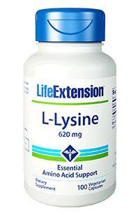 L-Lysine 620 mg  -  Life Extension - 100 Cápsulas VAL 06.2020