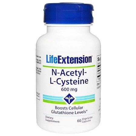 N-Acetyl-L-Cysteine (N-Acetil-L-Cisteína) 600 mg - Life Extension - 60 Cápsulas