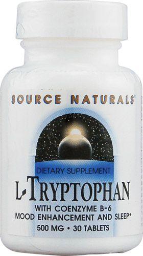 L-Triptofano (L-Tryptophan) 500 mg + Coenzima B6 - Source Naturals - 30 tablets