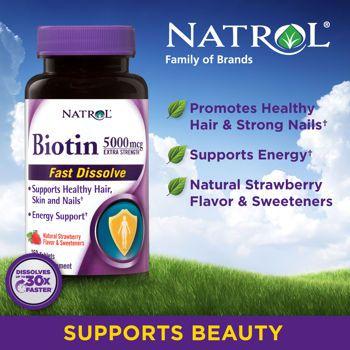 Biotina 5.000 mcg Sublingual - Natrol - 250 tablets