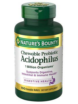 Probiótico mastigável Acidophilus - Nature´s Bounty - 100 Tablets