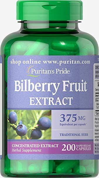 Bilberry Fruit Extract (Extrato de Mirtilo)  375 mg - Puritan´s Pride - 200 Cápsulas