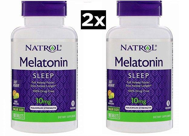 Kit 2 x Melatonina 10 mg Fast Dissolve sublingual sabor CITRUS - Natrol - Total 200 comprimidos