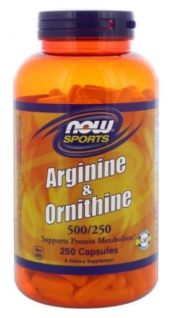 L-Arginina 500 mg e 250 mg Ornitina Now Foods  250 Capsulas