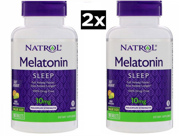 Kit 2 x Melatonina 10 mg Fast Dissolve sublingual sabor CITRUS - Natrol - Total 200 comprimidos (Envio Internacional)