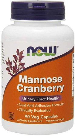 D Mannose (d-manose) e Cranberry - 90 cápsulas - Now Foods (pronta entrega)