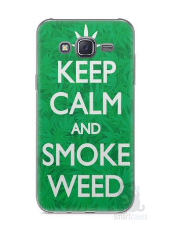 Capa Capinha Samsung J5 Keep Calm and Smoke Weed
