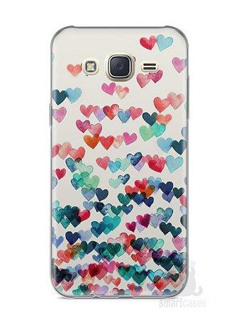 Capa Capinha Samsung J7 Corações Coloridos