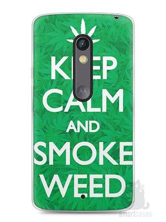 Capa Capinha Moto X Play Keep Calm and Smoke Weed