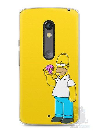 Capa Capinha Moto X Play Homer Simpson Comendo Donut