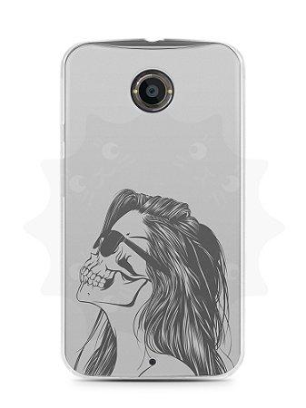 Capa Capinha Moto X2 Mulher Caveira