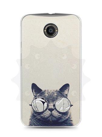 Capa Capinha Moto X2 Gato Com Óculos