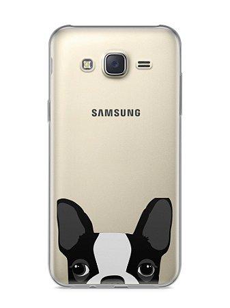 Capa Samsung J5 Cachorro Bulldog Francês Transparente