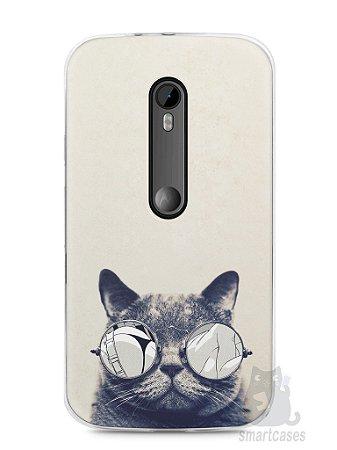Capa Moto G3 Gato Com Óculos