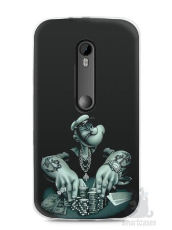 Capa Moto G3 Popeye Jogando Poker