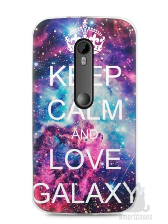 Capa Moto G3 Keep Calm and Love Galaxy